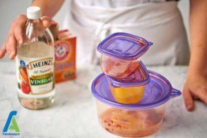 1 از بین بردن لکه غذایی ظروف پلاستیکی