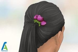 10 شینیون مو با گل طبیعی