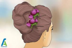 13 شینیون مو با گل طبیعی