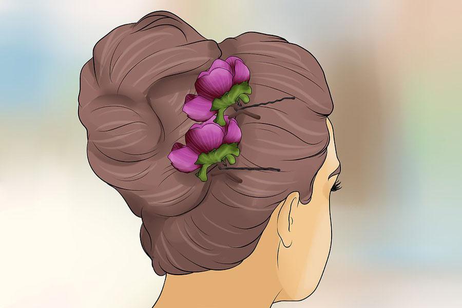 14 شینیون مو با گل طبیعی