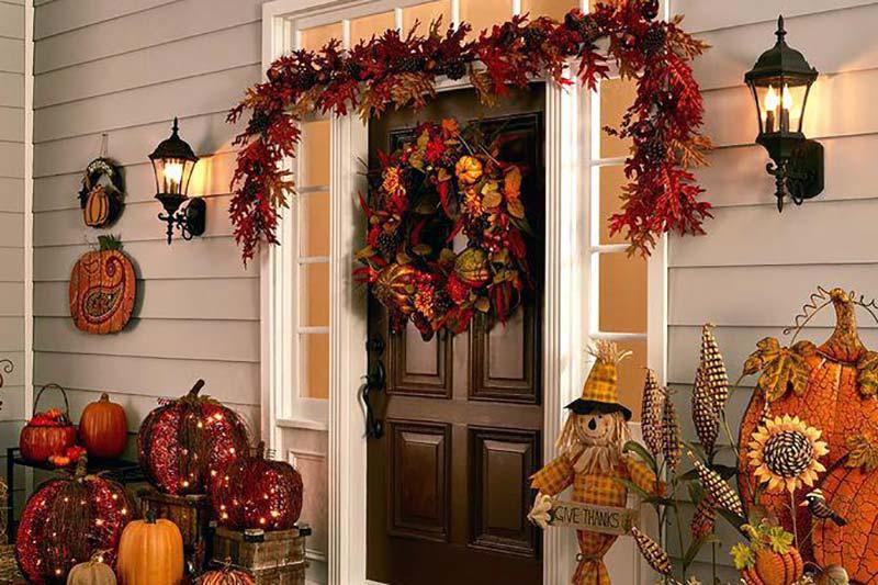 17 طراحی و تزئین ورودی منزل به سبک پاییزی