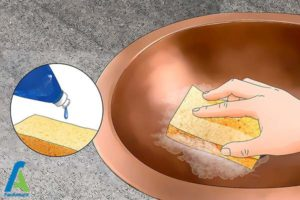 2 تمیز کردن سینک های مسی