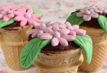 Photo of طرز تهیه کاپ کیک گلدانی بسیار زیبا و خوشمزه با قیف بستنی