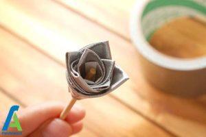 5 طرز ساخت گل رز با نوار چسب رنگی