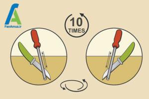 3 روش استفاده از چاقو تیزکن استوانه ای