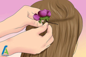 9 شینیون مو با گل طبیعی