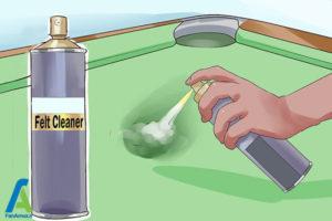 9 تمیز کردن پوشش نمدی سطح میز بیلیارد