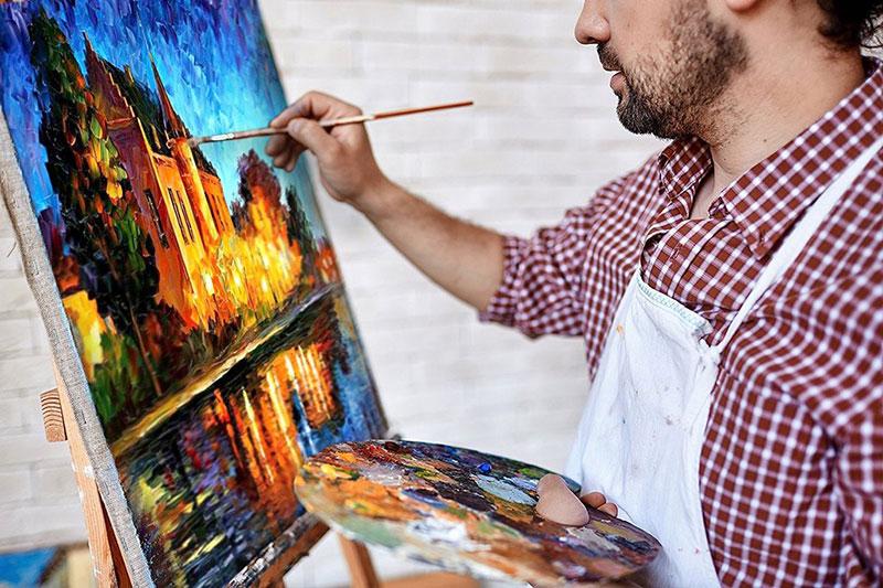 5 خشک کردن نقاشی رنگ روغن روی بوم