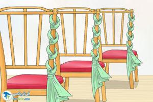 2 آموزش تزئین صندلی با پارچه و تور