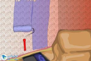 4 رنگ آمیزی دیوار پتینه کاری شده
