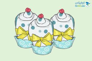 6 تزئین پوشک بچه به شکل کاپ کیک